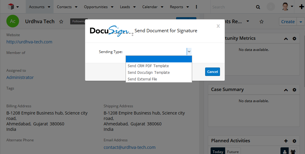 Send Document for signature from Accounts